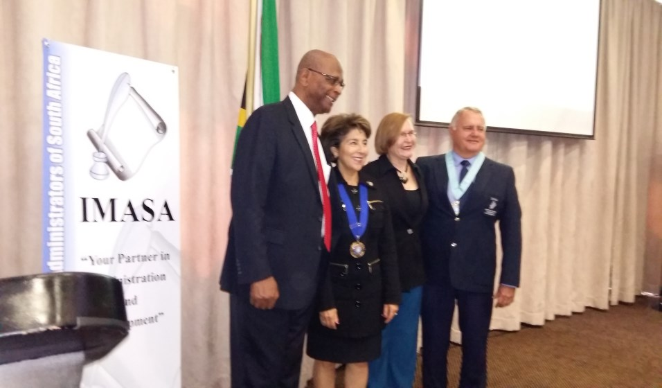 From left: Conrad Sidego (Executive Mayor for Stellenbosch Munici-pality), Monica Simmons (IIMC), Helen Zille (Premier of the Western Cape ) and Adv Jurie Vorster (outgoing President of IMASA)